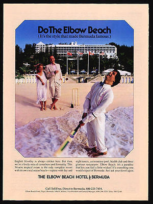 Cricket Elbow Beach Hotel Bermuda 1987 Vintage Bermuda Travel Ad - Paperink Graphics