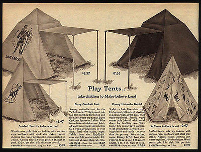 DAVY CROCKETT Indian Circus Umbrella Play Tents 1959 AD Western Toy Graphics