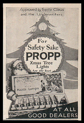 Santa Xmas Lights AD 1929 Propp Xmas Tree Mazda Lights AD Santa Claus Approved