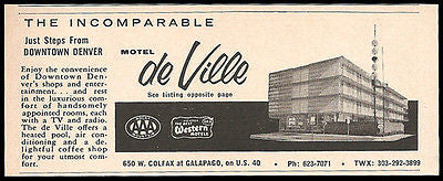 Motel de Ville Ad Denver Colorado AC Pool TV 1964 Roadside Photo Ad Travel