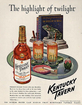 1949 Distillery Ad Tropical Graphic Arts Kentucky Tavern Bourbon Frog Lighter - Paperink Graphics