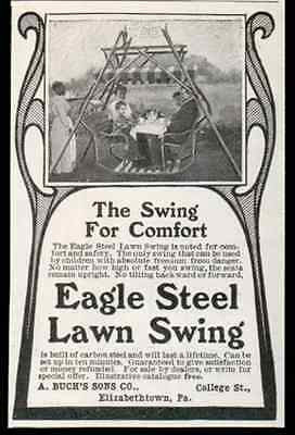 Eagle Steel Lawn Swing Black Maid Serves Canopy Table Swing 1905 Photo AD - Paperink Graphics