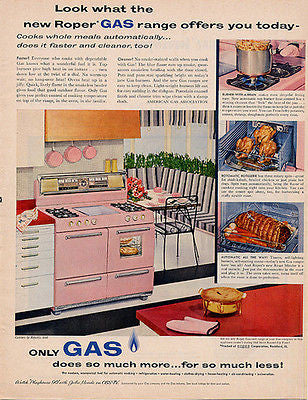 Roper Pink Gas Gourmet Range 1957 Photo AD Mid Century Kitchen Appliance