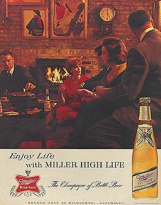Miller Brewing Beer 1963 AD Couples Fondue Pot Party