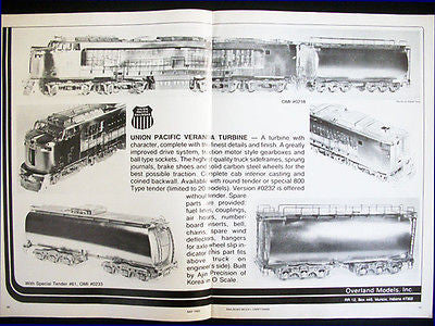 1983 Railroad Model Ad Union Pacific Veranda Tubine O Scale Overland Models Inc