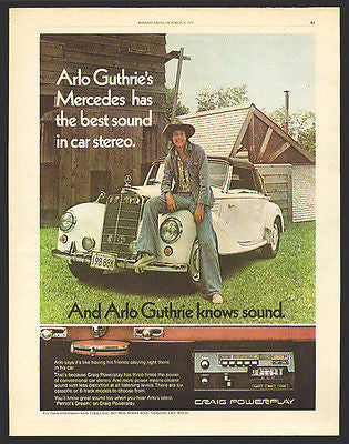 Arlo Guthrie Vintage Ad 1975 Mercedes Craig Powerplay Audio - Paperink Graphics