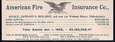 Eagle Logo Artwork American Fire Insurance Asset Report 1893 AD