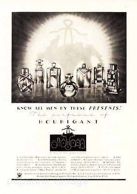 Deco Designs 1932 Houbigant Perfumes Fragrances Bottles Display Ad