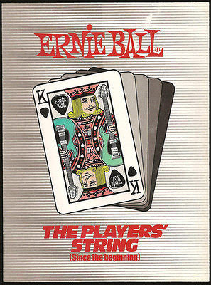 Ernie Ball Vintage Music AD 1987 Guitar Strings KING Playing Cards Graphic Artwork