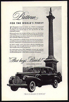 Chauffeur Drives Buick 1940 Photo Ad Admiral Nelson Monument England