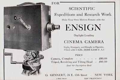 Camera Ensign Scientific Cinema Camera Research Expeditions Tripod 1914 AD