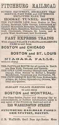 Fitchburg Railroad Ad Hoosac Tunnel Route 1895 AD Massachusetts Trains
