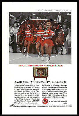 Cheerleading Batons RCA AD 1963 Television High Fidelity Color Tube TV Print Ad