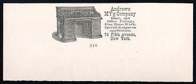 Rolltop Desk 1889 Andrews Mfg NYC Bank Office Print AD