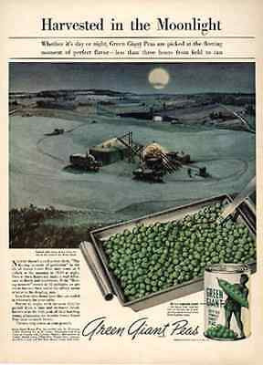 Green Giant Peas Sweet Peas Harvested Moonlight 1939 AD Food Veggies - Paperink Graphics