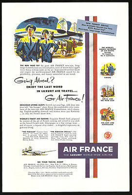 Air France Luxury Worldwide Airline Aviation 1952 Ad - Paperink Graphics