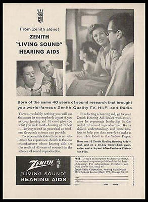 Hearing Aid Living Sound Zenith Family TV 1958 Photo Illustration Medical Device AD