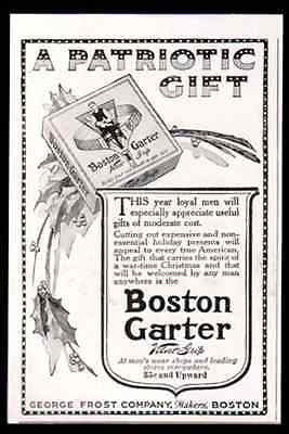Garters Men Boston Garter WWI Patriotic 1918 Print AD