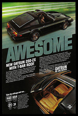 Datsun 280-ZX 1980 AD Awesome T-Bar Roof Auto Car Photo Print Advertisement