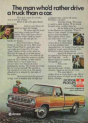 Dodge Pickups 1975 Truck Ad Chrysler Transportation Rugged Cowboy - Paperink Graphics