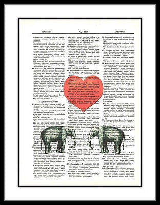 Baby Elephants Red Heart Fun Animals Dictionary Art Print Vintage Upcycled Art