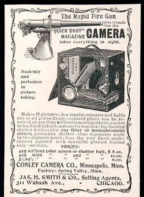 1899 Camera Cut Away Diagram AD Conley Camera Antique Photography Advertisement - Paperink Graphics
