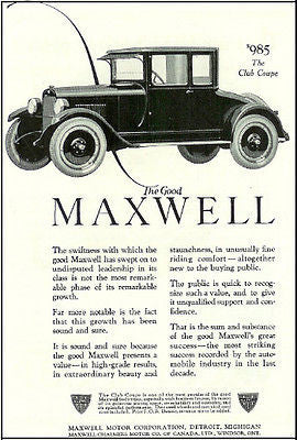 Antique Car Ad Maxwell Club Coupe Automobile Maxwell Motor Corp Detroit MI