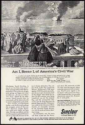 Civil War Charleston Citizens Watch Bombardment Ft. Sumter 1961 Sinclair Oil AD - Paperink Graphics