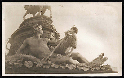 Neptune Trident Sea Serpant Statue Woman Tourist Poses Vintage Photo