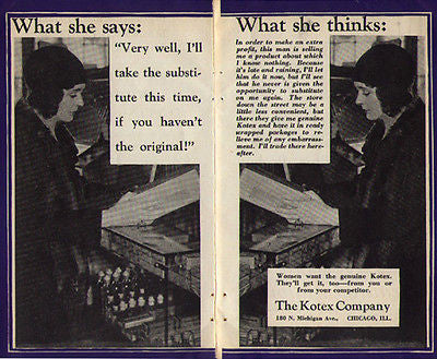 Kotex Women want the genuine Kotex 1929 AD Woman at Drug Store