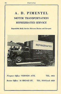 Delivery Truck Pimentel Motor Transportation Boston Newport 1947 Ad