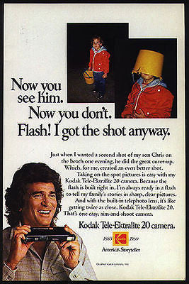 1980 Michael Landon and Son Christopher Landon Screenwriter Kodak Camera Ad - Paperink Graphics