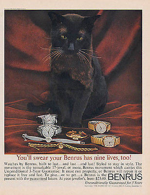 Cat with Distinct Eyebrows Benrus Nine Lives Watch 1960
