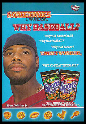 Ken Griffey Jr. 2000 Photo Ad Nabisco Sportz Snacks
