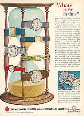 Hourglass Swiss WatchMakers 1958 AD Jeweled Lever Self Winding Watch
