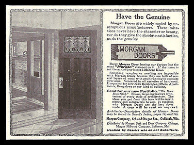 Arts & Crafts Doors 1911 AD Leaded Glass Morgan Doors Oshkosh WI Illustrated AD