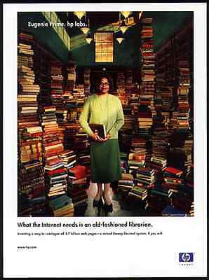 Hewlett Packard HP Labs Ad 2001 Eugenie Prime Book Stacks Librarian