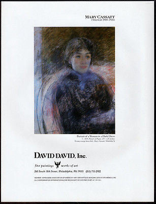 Woman Dark Dress Gallery Art AD 1988 Mary Cassatt Artist Artwork Advertising