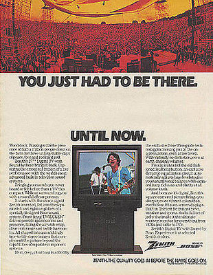 Woodstock you just had to be there Zenith TV Ad 1989