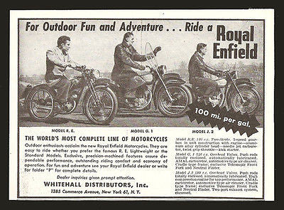 Royal Enfield Motorcycle 1948 Small AD 3 Models Motorcycle Riders