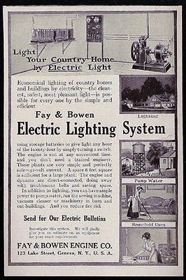Electric Lighting System for Country Home 1913 Print AD