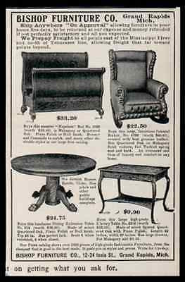 Grand Rapids Bishop Furniture Arts Crafts Table Bed Chair 1907 Ad - Paperink Graphics