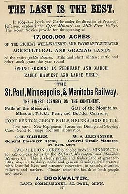 1888 Ad Midwestern Land Minnesota St. Paul Minneapolis Manitoba Railway Co.