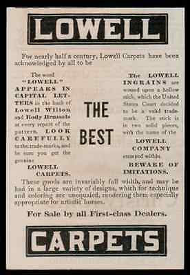 Lowell Carpets Artistic Homes Designs 1893 Antique Interior Decorating Ad - Paperink Graphics