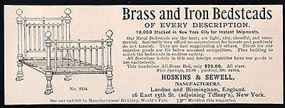 Bed Ornate Brass Iron English Design Bedsteads 1893 AD - Paperink Graphics