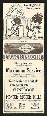 Crackproof Pioneer Rubber Hose Black Derogatory 1927 AD - Paperink Graphics