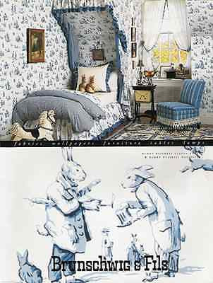 1995 Ad Dressed Rabbits Art Bunny Business Fabric Wallpaper Brunschwig & Fils - Paperink Graphics