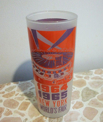 New York Worlds Fair Ice Tea Frosted Glass Tumbler NYWF 1964-65 CIRCUS