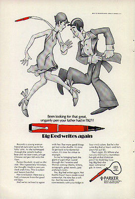 Parker Pen 1974 Ad Big Red Parker Pen Dance Writing Instrument Advertising
