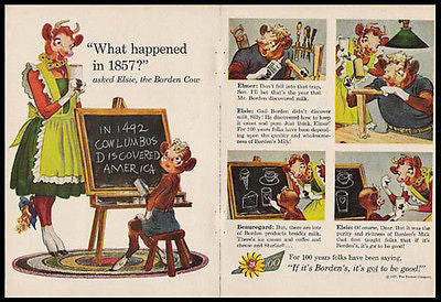 Elsie School Teacher Borden History Blackboard 1957 Print Ad